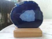 Agate bleue tranchée polie